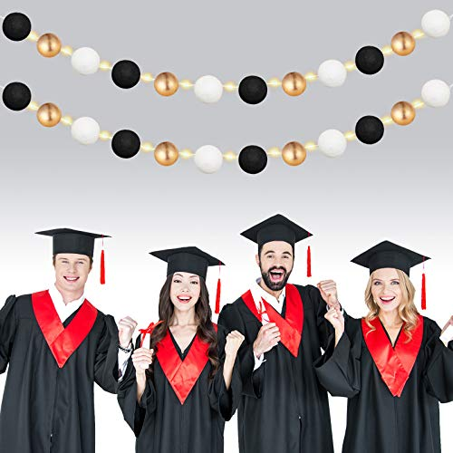 2 Pieces 4.9 Feet Graduation Felt Ball Garlands and 2 Pieces 6.5 Feet LED String Lights Colorful Pom Pom Balls Garland Hanging Banner Decorations for Graduation Party Wall Christmas Tree Decoration
