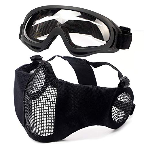 Tactical Airsoft Half Face Mask with ear protection Foldable Comfortable Wire Steel Metal Net Mesh Protective Mask and Goggles Set for with Outdoor Airsoft BK BB Gun Hunting CS Paintball