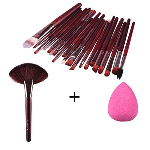 kingko® 22pcs / set de maquillage Fondation pinceau de maquillage sourcils cils yeux joues Brush + Maquillage éponge marron