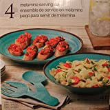 Four Piece Melamine Serving Set - Turquoise - Platter, Bowl, Fork and Spoon