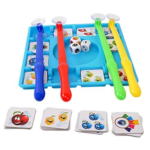 Schimer Fruit borduur-spel voor ouders en kinderen, interactief fruitbord, speelgoed, dobbelsteen ophalen, fruitkaarten, puzzels, spelletjes, leren, voor kinderen