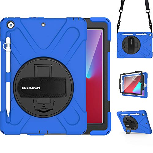 BRAECN iPad 10.2 Case 2020/2019, iPad 8th/7th Generation Case, Heavy Duty Kids Case with Pencil Holder Screen Protector Pencil Cap Holder Hand Strap Shoulder Strap Kickstand for iPad 10.2 Inch -Blue