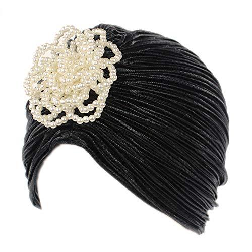 iKulilky - Sombrero de turbante para mujer, gorro musulmán, gorro indio, gorro de punto, gorro de punto para mujer, estilo retro, accesorio para disfraz, color negro