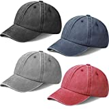 4 Pieces Kids Baseball Hats Distressed Washed Toddler Plain Baseball Caps Adjustable Summer Trucker Hats for Boys Girls