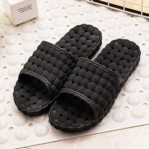 HUSHUI Suela De Espuma Suave Zapatos De Piscina,Sandalias Huecas de Fondo Suave Antideslizante, Zapatillas de baño para el hogar-Negro_44-45,Zapatillas de Piscina Antideslizantes Unisex