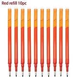 MALATA Set de bala borrable de 0,5 mm Bolígrafo de gel Azul/negro/verde/rojo Juego de recarga mágica borrable de tinta para herramientas de escritura de oficina escolar, recarga de 10 piezas