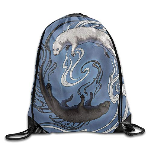 uykjuykj Tunnelzug Rucksäcke, Yin Yang Tiger Kawaii Teen Girl Drawstring Bag Capacity Gym Sack Bag Yoga Lightweight Unique 17x14 IN