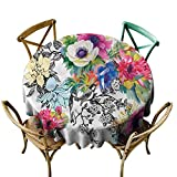 W Machine Sky Wrinkle Free Tablecloths Flower,Colorful Garden with Leaves Diameter 54' Kids Round Tablecloth