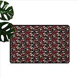 RenteriaDecor - Alfombrillas de Oficina con diseño de Flores abstractas con pétalos Rojos y Hojas Negras, Alfombra para habitación de niños