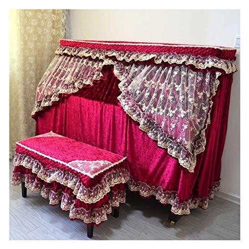 Stofdichte Piano Cover doek Gordijn Ontwerp Hoogwaardige Pleuche Meubeldoek Handdoek Lase Decoratie Rechtopstaande Piano Volledige Cover Met Kruk Cases (Kleur : Rood)