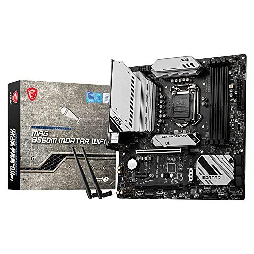 MSI MAG B560M MORTAR WIFI Placa Base Gaming, M-ATX - Soporta Procesadores Intel Core 11ª Generación, LGA 1200 - DDR4 Boost (5066MHz/OC), 2 x PCIe 4.0/3.0 x16, 2 x M.2 Gen4/3, 2.5G LAN, Wi-Fi 6E