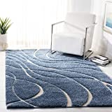 SAFAVIEH Florida Shag Collection SG471 Abstract Wave Non-Shedding Living Room Bedroom Dining Room Entryway Plush 1.2-inch Thick Area Rug, 4' x 6', Light Blue / Cream