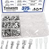 Tnisesm/375Pcs Quick Splice 2.8/4.8/6.3mm Male and Female Wire Spade Connector Wire Crimp Terminal Block with Insulating Sleeve Assortment Kit for Car Audio Speaker Electrical Wiring TN-T02