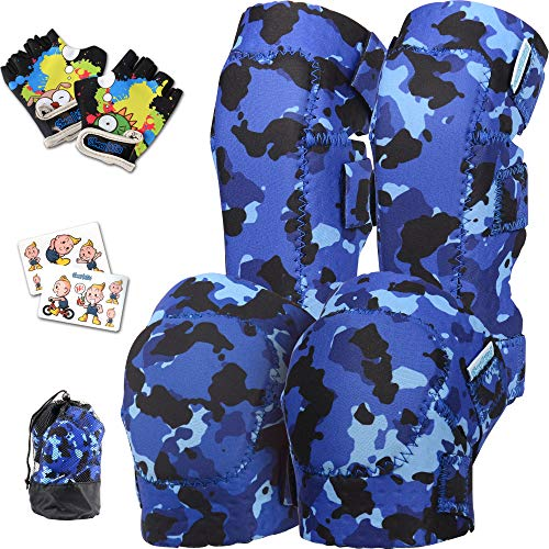Innovative Soft Knee and Elbow Pads with Bike Gloves I Toddler Protective Gear Set w/Mesh Bag I Comfortable & CSPC Certified I Bike, Roller-Skating, Skateboard Knee Pads for Kids