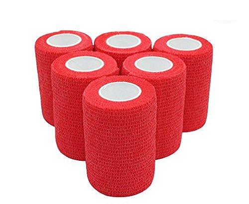 nilo, Bende adesive - 6 rotoli, 10 cm x 4,5 m, benda autoadesiva ed elastica (rosso)