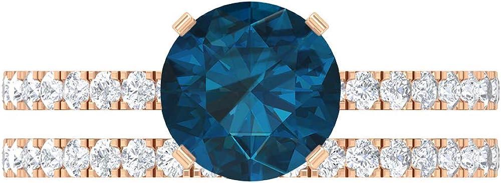 7.5 MM London Blue Topaz Solitaire Ring, D-VSSI Moissanite Half Eternity Band, Side Stone Engagement Ring, Wedding Bridal Ring Set, 14K Gold
