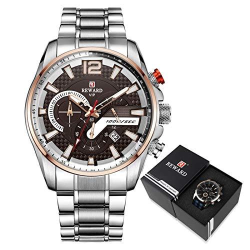 JISHIYU Reloj deportivo de lujo con cronógrafo masculino y correa de acero inoxidable (color: plateado marrón en caja)