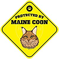 メインクーンによって保護されています 金属板ブリキ看板警告サイン注意サイン表示パネル情報サイン金属安全サイン