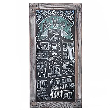 MyGift Torched Wood Vertical Frame Chalkboard, Wall Mount Erasable Message Board
