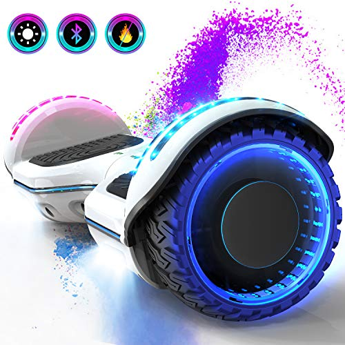GeeKMe 6.5 Pulgadas Patinete Eléctrico Scooter Eléctrico Auto Equilibrio Inteligente Built-in Bluetooth Speaker Flashing LED Luces para Niños y Adultos