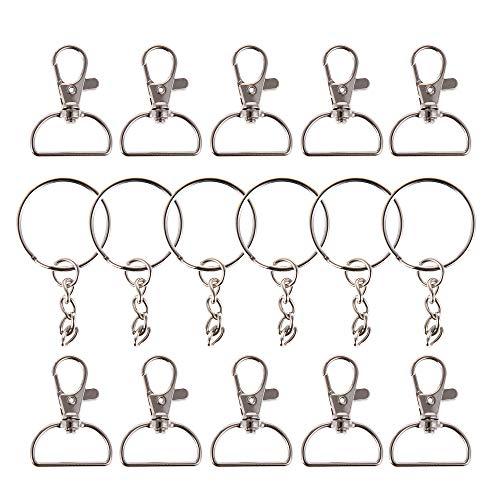 25 mosquetones + 25 llaveros para proyectos de costura, mosquetón de 25 mm para bolsos, llaveros, llaveros de macramé, llaveros, ganchos para llaves, artesanía