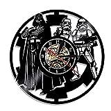 CCAN Huhn Reloj de Pared de Vinilo Smotly, Reloj de Pared con diseño de Tema de Star Wars, Reloj de Pared de peluquería Creativo Hecho a Mano. (Gancho de Regalo), L1,12L