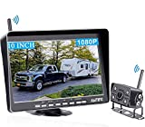 AMTIFO A11 HD 1080P RV Wireless Backup Camera 10 Inch Monitor Split/Quad Screen for Trailers,5th Wheels,Trucks Highway Rear View Camera System DVR Recording IP69K Waterproof IR Night Vision
