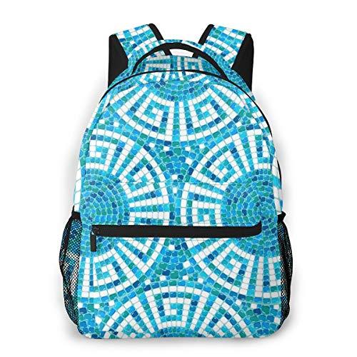 Laptop Rucksack Daypack Schulrucksack Backpack Pool Mosaik Keramik geometrisch, Business Taschen Freizeit Rucksack Arbeits Schultasche für Herren Männer Schüler Schule