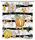 LB Herbst Kürbis Duschvorhang schwarz weiß gestreift Ahornblätter Bauernhaus Herbst Duschvorhänge für Badezimmer Dekorationen Set mit Haken 152,4 x 182,9 cm wasserdichtes Polyestergewebe
