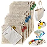 Big A Reusable Produce Bags   Organic Cotton Mesh   Recyclable   Tare Weight on Label   Double-Stitched Seams   Stainless Steel Clasp   Set of 9 (1 Grain - 2 Small - 3 Medium - 3 Large) with Tote Bag