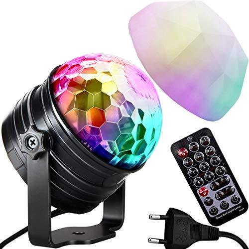 Mini Discolicht, KIWITECH LED Discokugel Partylicht, Stimmungslicht Sprachaktiviertes Kristall Magic Ball Bühnenlicht mit Fernbedienung, für Xmas KTV Party Hochzeits-Show Club