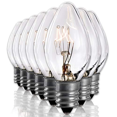 Salt Rock Lamp Bulb 6 Pack + 2 Free 15 Watt Replacement Bulbs for Himalayan Salt Lamps & Baskets, Chandeliers, Candle & Wax Warmers, Night Lights. Incandescent E12 Socket w/Candelabra Base, C7, Clear
