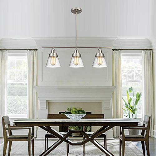 Modern Brushed Nickel Kitchen Island Lighting, Clear Seeded Glass Linear Chandelier, 3 Lights Pendant Light Fixture for Kitchen Island Dining Room
