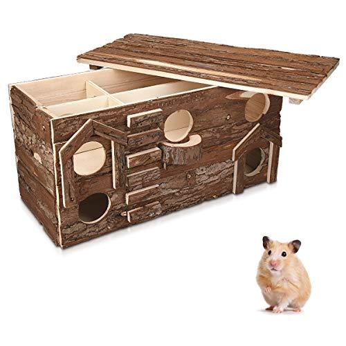 Navaris Hamsterhaus aus Holz - Nager Haus mit abnehmbarem Dach - Hütte Hamster Goldhamster Zwerghamster Mäuse - Schlafhaus Spielhaus für Käfige