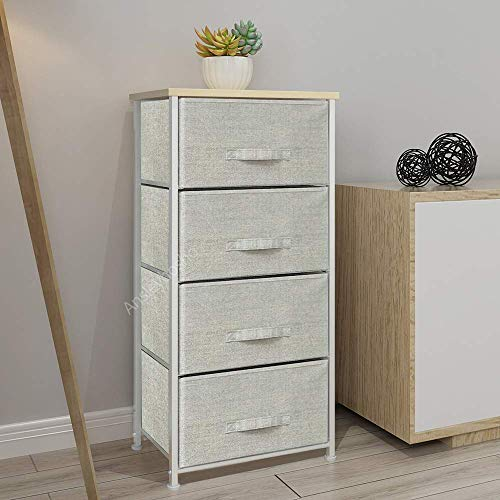 BOJU Chest of Drawers Tower Tallboy Bedroom Storage Drawers Organizer Cabinet Unit Storage Chest Wardrobe Simple Non-Woven Fabric Drawers for Hallway Living Room (4 Drawers)