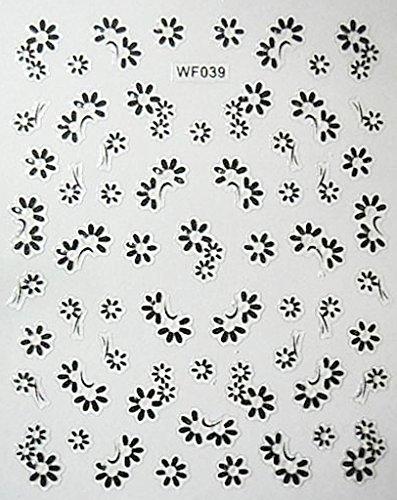 CLUB MODE Nail Art Scrapbooking Stickers Autocollants pour Ongles Fleurs pâquerettes Noires