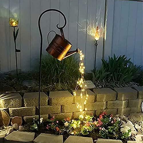 LIUPING Star Shower Garden Art Light Lámpara LED Decorativa, Regadera Decorativa con Cadena de luz, Regadera con Cadena de luz en el Exterior, Star Fairy Night Light (Color : E, Size : with Bracket)