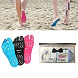 Fairydreamy Beach Barefoot Adhesive Foot Pads,5 Pairs Unisex Adults Invisible Shoes Stick on Soles,Non-Slip and Waterproof for Sand Pool Yoga (Black, M:5.5-7 US/Length 9.05')