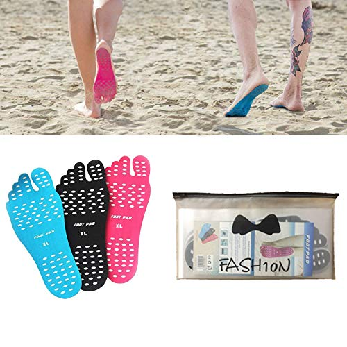 Fairydreamy Beach Barefoot Adhesive Foot Pads,5 Pairs Unisex Adults Invisible Shoes Stick on Soles,Non-Slip and Waterproof for Sand Pool Yoga (Blue, M:5.5-7 US/Length 9.05')