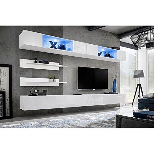 Paris Prix - Meuble TV Mural Design Fly VIII 320cm Blanc