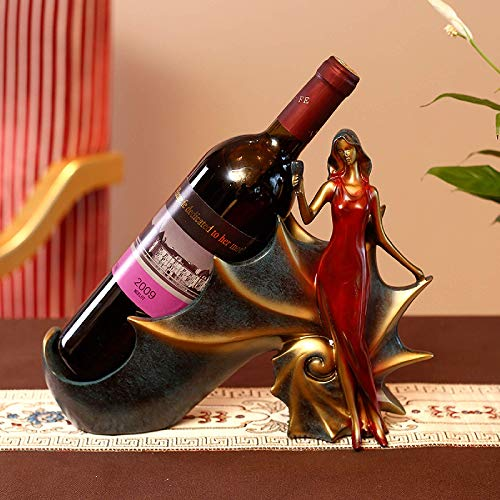 MIAOMIAO - Estante de vino para niña, diseño de caracola, decoración para el hogar, sala de estar, resina, regalos (rojo)