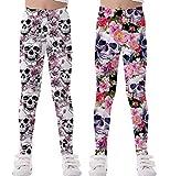 Coralup - Mallas elásticas coloridas para niñas pequeñas, diseño de unicornio, impresión 3D, pantalones casuales, longitud completa de 2 a 10 años Calavera+calavera 5-6 Años