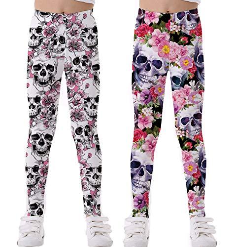 Coralup - Mallas elásticas coloridas para niñas pequeñas, diseño de unicornio, impresión 3D, pantalones casuales, longitud completa de 2 a 10 años