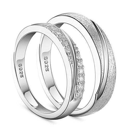 SHEGRACE 925 Sterling Silver Couple Rings Engraved Frosted and AAA Zircon Platinum Size O-S (Adjustable) for Lovers, Gift for Valentine's Day