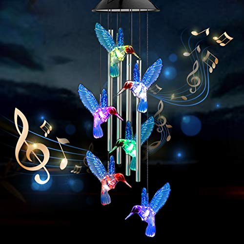INGOFIN Solar Blue Hummingbird Wind Chimes - 4 Aluminum Tubes Music LED Wind Chimes for Outside Waterproof 27.5'' Hanging String Light, Memorial Gifts for Mom Grandma Women Decoration for Garden Patio