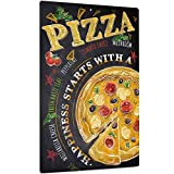 Putuo Decor Pizza Metal Wall Decor, Funny Art Decoration for Home, Bars, Kitchen, Restaurants, Cafes Pubs, 12x8 Inches Aluminum Sign
