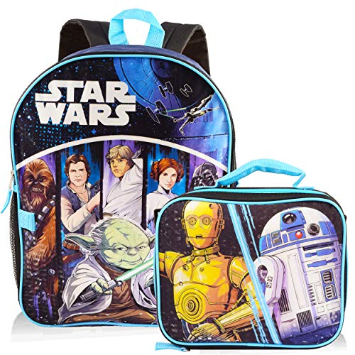 Star Wars Backpack with Lunchbox Set for Boys Kids ~ Deluxe 16' Classic Star Wars Backpack with Insulated Lunch Bag (Star Wars School Supplies Bundle)