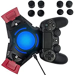 Zacro Dualshock 4 Ladegerät für Playstation 4 Controller mit blauem LED Licht und USB Ports, Inkl.8 Stück Thumbstick Kappen für PS4 Controller