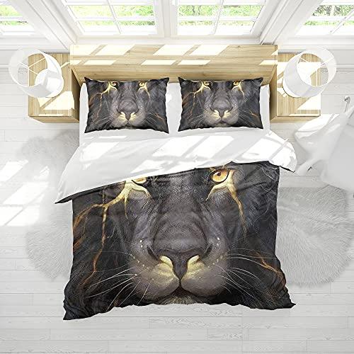 Luxus 3D Bettbezug, Lightning Tiger Tier Pflegeleichter Bettbezug und Kissenbezüge, Superweiche Bettwäsche, Poly-Baumwolle, Doppelte Größe