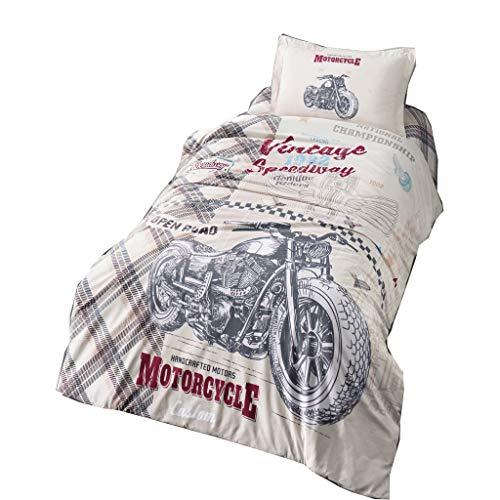 ZIRVEHOME Kinder Bettwäsche 135x200 cm, 100% Baumwolle, Mit Reißverschluss (Motocross, 135 x 200 cm)